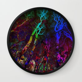 Magic neon Forest Wall Clock