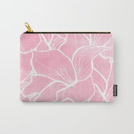 Modern white hand drawn abstrat floral pastel pink watercolor Carry-All Pouch