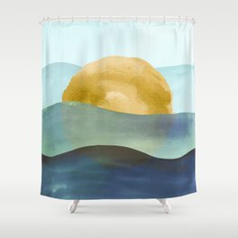 Ocean Sunset Watercolor Shower Curtain