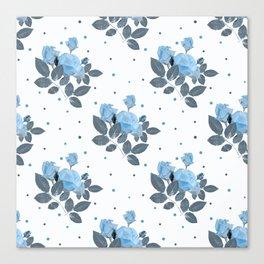 Blue roses and polka dots Canvas Print