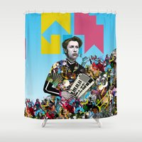 rave Shower Curtains featuring RAVE by DIVIDUS DESIGN STUDIO