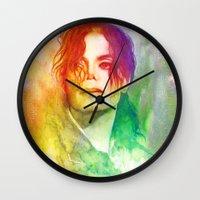 michael scott Wall Clocks featuring Michael by Aurora Wienhold