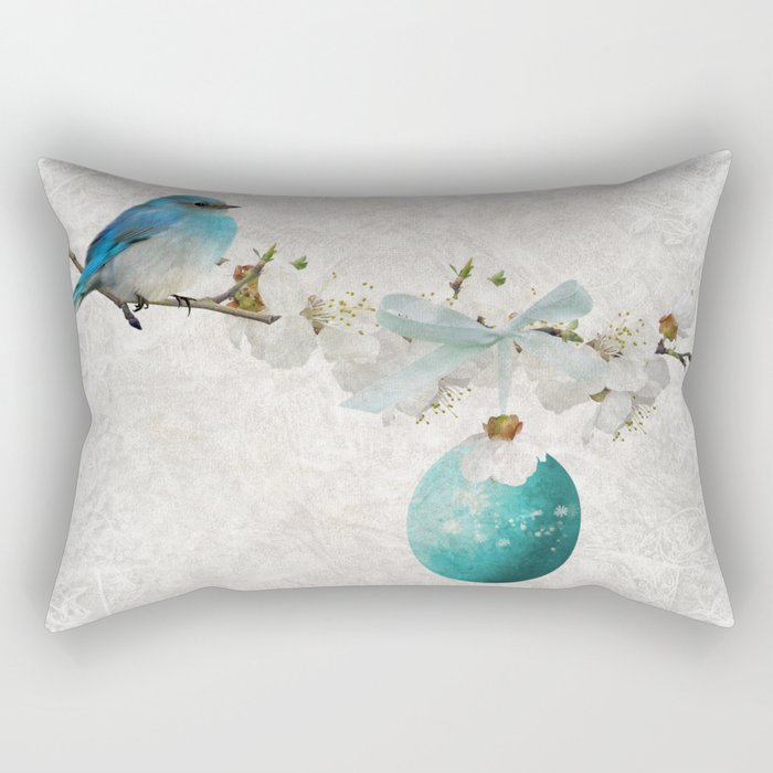 Blue bird & egg Rectangular Pillow