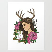 antler Art Prints featuring Antler by Linn Leding