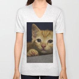 Pondering Kitten Unisex V-Neck