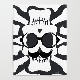 old funny skull and bone art portrait in black and white Poster