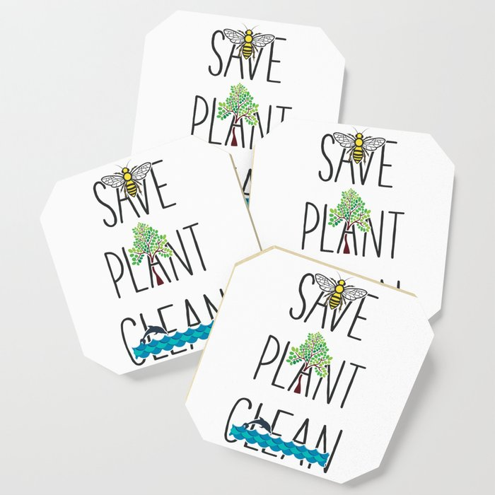 Save Bees, Plant Trees, Clean The Seas Nature Environment Gift Coaster by  mintedfresh