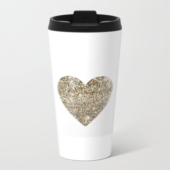 GOLD Heart-8 Metal Travel Mug