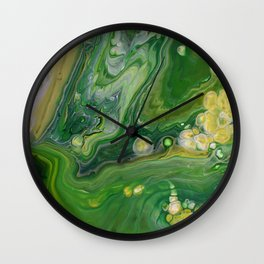 Take Five II -  Green Yellow Fluid Marble Painting Wall Clock