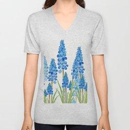 blue grape  hyacinth forest Unisex V-Neck
