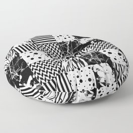 Eclectic Black and White Squares Floor Pillow