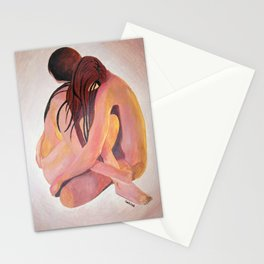 Intimate Couple Hugging and Staying In Touch Stationery Cards