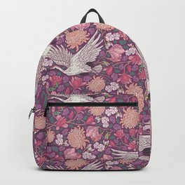Cranes with chrysanthemums and pink magnolia on purple background Backpack