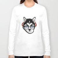 husky Long Sleeve T-shirts featuring HUSKY by Rebeca Zum
