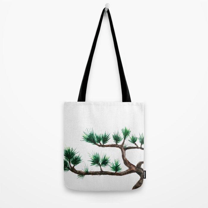 green pine tree painting Tote Bag