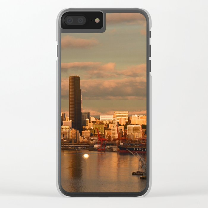 Seattle Cityscape Clear iPhone Case