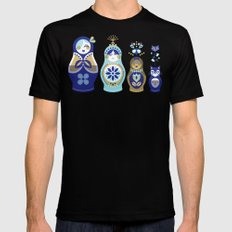 Russian Nesting Dolls – Blue & Gold MEDIUM Black Mens Fitted Tee