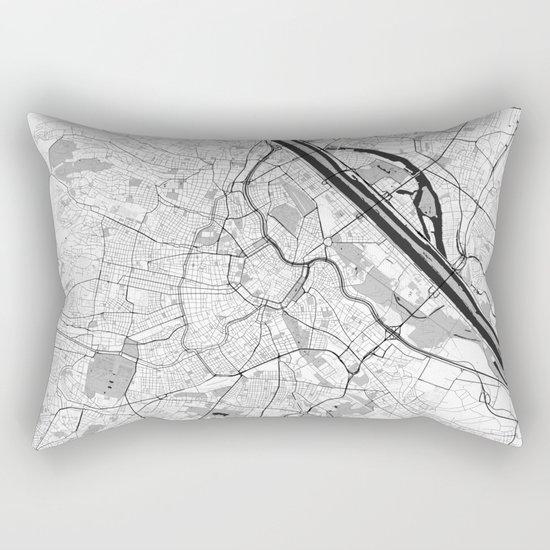 Vienna City Map Gray Rectangular Pillow