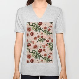 Vintage & Shabby Chic Floral Poppy Flowers Watercolor Pattern Unisex V-Neck