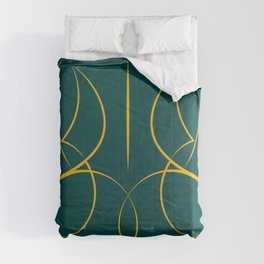 Female Form Reverse in forest green Comforters