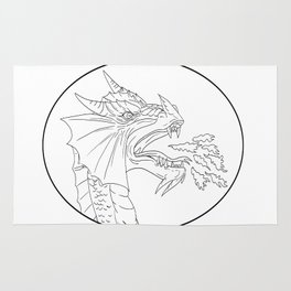 Dragon Fire Circle Drawing Rug