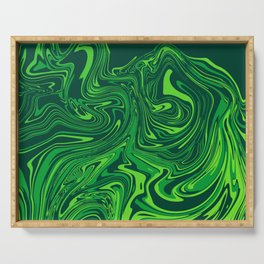 Green emerald abstract marble Serving Tray