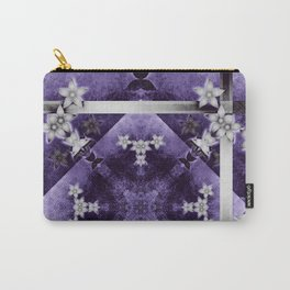 Silver flowers on purple and black textured mandala Carry-All Pouch