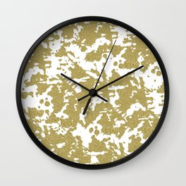 Modern abstract white gold glitter marble pattern Wall Clock
