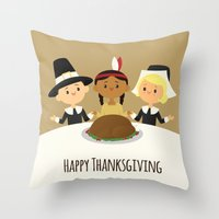 thanksgiving Throw Pillows featuring Happy Thanksgiving by Sara Showalter