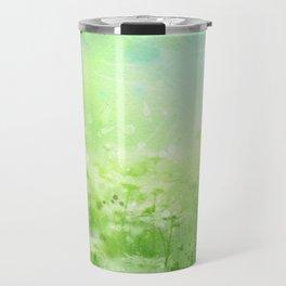 Green Watercolor Floral Travel Mug