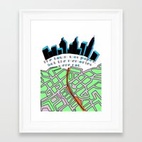paper towns Framed Art Prints featuring Paper Towns by green.lime