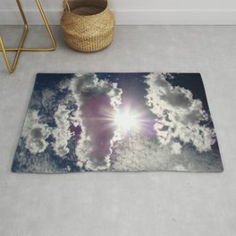 Silver Linings sun through the clouds Rug