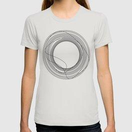 Tangled Monochromatic Black Circles on White T-shirt