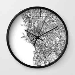 Manila Map White Wall Clock