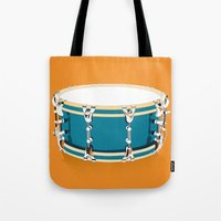 drum Tote Bags featuring Drum - Orange by Ornaart