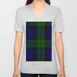 Scottish Campbell Tartan Pattern-Black Watch #2 Unisex V-Neck