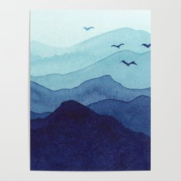 Rolling mountains fade into the mist. Watercolor. Poster