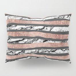 Elegant Black White Marble Rose Gold Brushstrokes Pillow Sham