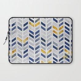 Herringbone chevron pattern.Indigo faux gold acrylic canvas Laptop Sleeve
