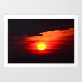 Sunset on Compo Beach Art Print