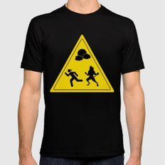full moon - take caution  MEDIUM Mens Fitted Tee Black