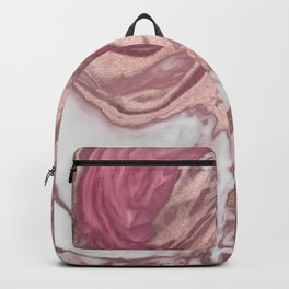 Rose Gold Pink White Painted Girly Abstract Marble Backpack