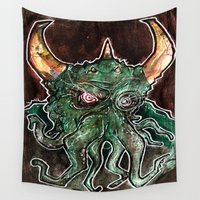 cthulhu Wall Tapestries featuring Cthulhu by byron rempel