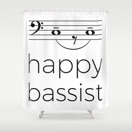 Happy bassist (light colors) Shower Curtain