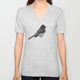 Black Phoebe Songbird Flycatcher Bird Unisex V-Neck