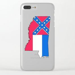 Mississippi Map with Mississippi Flag Clear iPhone Case