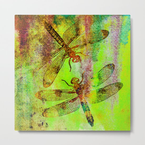 Green Watercolor Dragonflies Metal Print