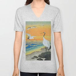 Ohara Koson Cranes on the seashore Unisex V-Neck