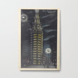 Electric Tower at Night c. 1910s Metal Print