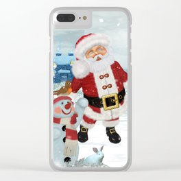 Funny Santa Claus Clear iPhone Case